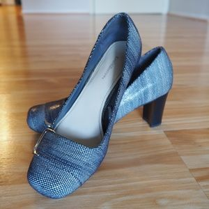 Grey Patterned Heels with Buckle Feature